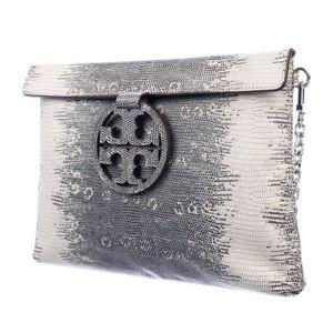 Tory Burch Embossed leather shoulder bag.